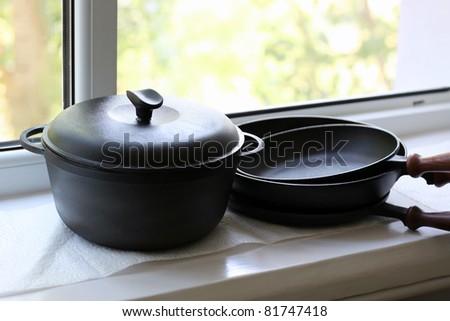 cast iron Cookware - stock photo