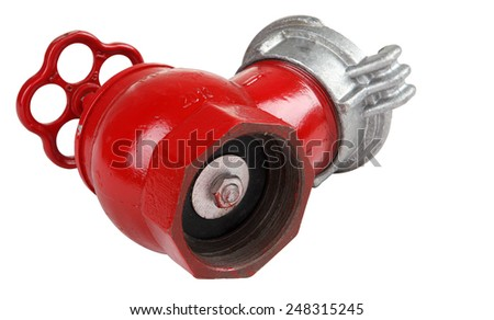 Cast iron fire hydrant valve indoors, Isolated on white background, saved path contour selection. - stock photo