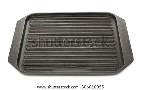 Cast iron grill pan isolated on a white background - stock photo