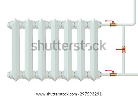 cast iron radiator isolated on white background - stock photo