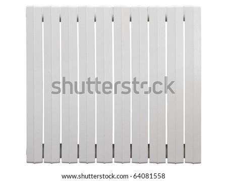 Cast iron radiator. Isolated on white background. - stock photo