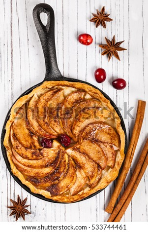 Cast Iron Skillet Apple Cake with Cinnamon. Selective focus.