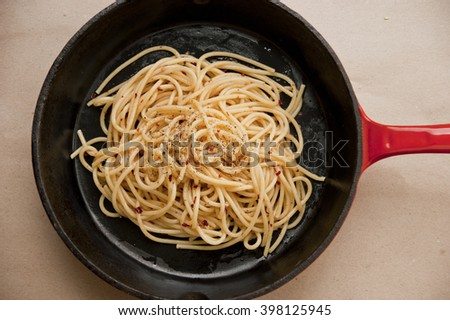 Cast Iron Skillet with pasta on a brown paper background