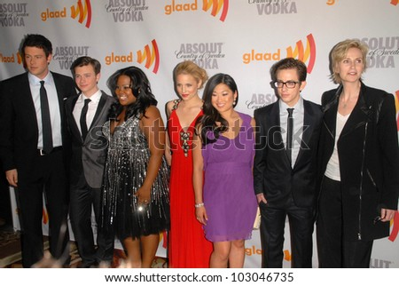 "Cast of ""Glee""  at the 21st Annual GLAAD Media Awards, Hyatt Regency Century Plaza, Century City, CA. 04-17-10"