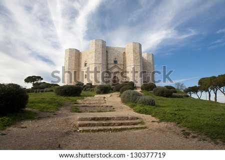 Castel del Monte (Castle of the Mount) in Apulia, Italy. World Heritage Site since 1996. - stock photo