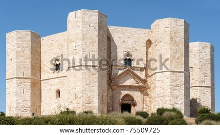 Castel del Monte (Castle of the Mount) is situated on a solitary hill, in the southeast italian region of Apulia, near Andria in the province of Bari. - stock photo