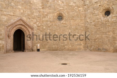 Castel del Monte - courtyard, Apulia, Italy. The octagonal fortress of Emperor Frederick II from the 13th century. - stock photo