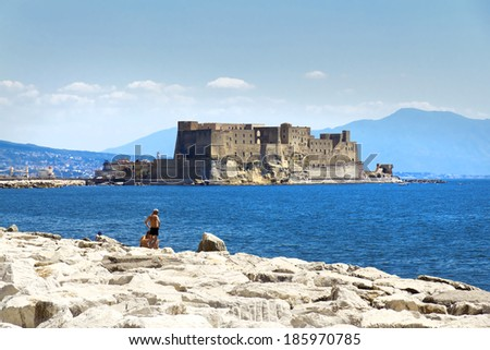 Castel dell'Ovo (Egg Castle) a medieval fortress in the bay of Naples, Italy. - stock photo