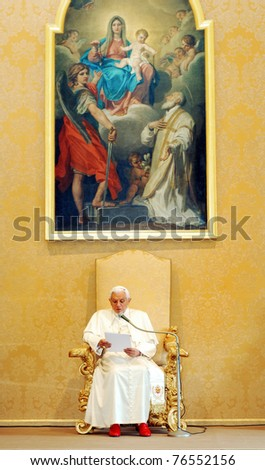 CASTEL GANDOLFO, ITALY - APRIL 30: Pope Benedict XVI addresses to his guests in his summer residence in Castel Gandolfo, Italy on April 30, 2011. - stock photo