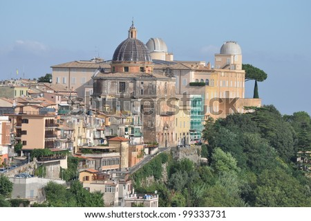 Castel Gandolfo, summer residence of the Pope - stock photo