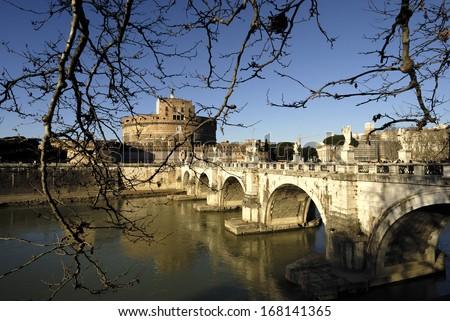 Castel Sant'Angelo and Bridge, Rome, Italy - stock photo