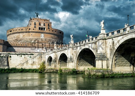Castel Sant'Angelo (Castle of Holy Angel), Rome, Italy - stock photo