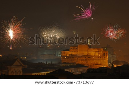 Castel Sant'Angelo in Rome and firework - stock photo