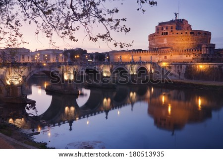 Castel Sant'angelo in Rome, Italy, at dusk