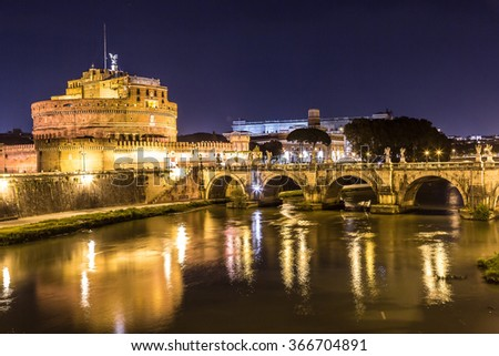 Castel Sant Angelo in Rome, Italy at night - stock photo