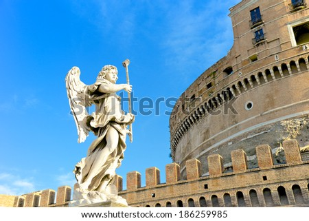Castel Sant'Angelo, Mausoleum of Hadrian, Rome, Italy - stock photo