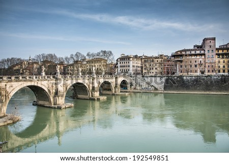 Castel sant'angelo's bridge over the river tevere in rome