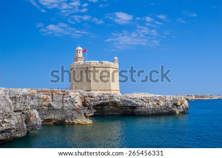 Castell de Sant Nicolau at the port mouth of Ciutadella de Menorca, Spain. - stock photo