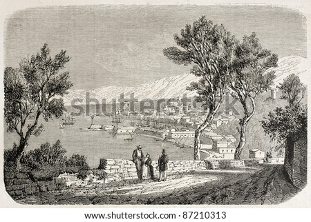Castellammare di Stabia old view, Italy. Created by Stock, published on L'Illustration, Journal Universel, Paris, 1860 - stock photo