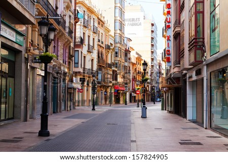 CASTELLON DE LA PLANA, SPAIN - AUGUST 25: Commercial street of Castellon on August 25, 2013 in Castellon de la Plana, Spain. City is located  in   east of Iberian Peninsula. Population (2012): 180,204