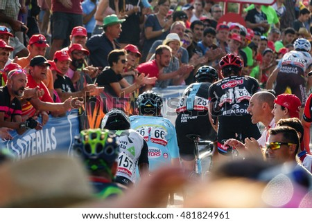 CASTELLON - SEPTEMBER 7: Luis Leon Sanchez (number 66) approaches to finish line in Mas de la Costa mountain stage of la vuelta on September 7, 2016 in Castellon, Spain