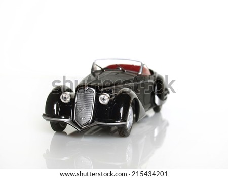 Castellon,Spain September 5,2014.Close up picture of a classic car (miniature), Alfa Romeo from year 1938   - stock photo