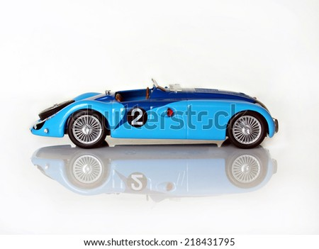 Castellon,Spain.September 20,2014 Collectible toy car, vintage competition Bugatti  - stock photo