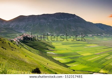 Castelluccio di Norcia, beautiful town on the italian hills in Umbria - stock photo