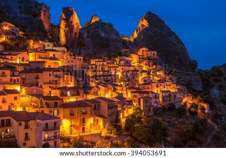 Castelmezzano in Basilicata, one of the most beautiful village in Italy - stock photo