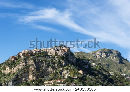 Castelmola. Taormina.  Province of Messina. Sicily, Italy. - stock photo