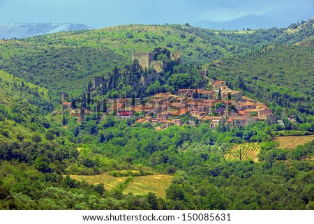 Castelnou in the Pyrenees - stock photo