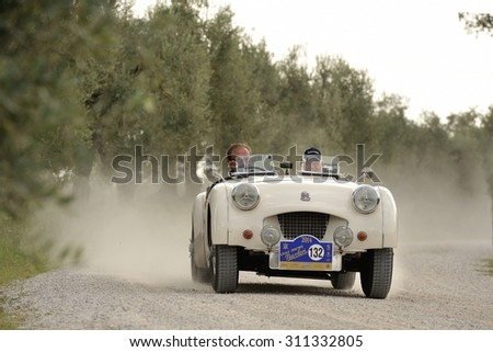 CASTELNUOVO BERARDENGA (SI), ITALY - SEPTEMBER 20: A white Triumph TR2 takes part to the GP Nuvolari classic car race on September 20, 2014 in Castelnuovo Berardenga (SI). The car was built in 1955 - stock photo