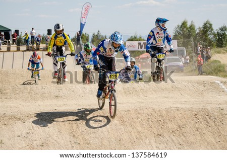CASTELO BRANCO, PORTUGAL - MAY 4: Athletes at the 2nd stage of the Portuguese BMX race Cup the  on may 4, 2013 in Castelo Branco, Portugal.