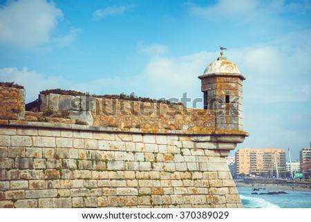 Castelo do Queijo or Cheese Castle or Forte Francisco Xavier in Porto. - stock photo