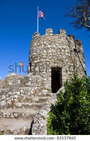 Castelo dos Mouros in the village of Sintra, Portugal - stock photo