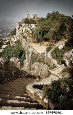 Castelo dos Mouros - Mourish Castle - Sintra, Portugal - stock photo