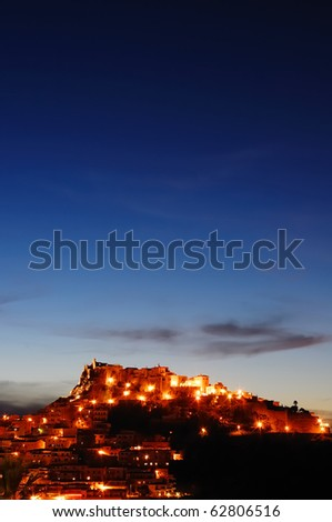 Castelsardo city at night - italy - sardinia - stock photo