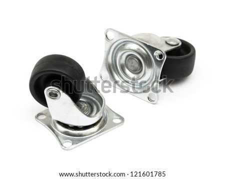 Casters isolated on white background - stock photo
