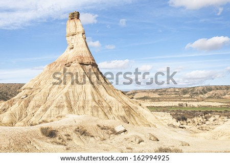 Castildetierra the most famous hill (called cabezo) of Bardenas Reales Natural Park, a semi-desert natural region, located in Navarre (Spain)