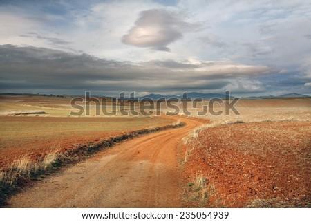 Castilla - La Mancha landscape. Wintertime. - stock photo
