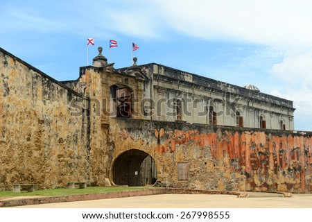 Castillo de San Cristobal, San Juan, Puerto Rico. Castillo de San Cristobal is designated as UNESCO World Heritage Site since 1983. - stock photo