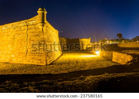 Castillo de San Marcos at night, in St. Augustine, Florida. - stock photo