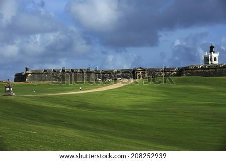 Castillo San Felipe del Morro,  also known as Fort San Felipe del Morro or Morro Castle, is a 16th-century fortress located in San Juan, Puerto Rico, designated as UNESCO World Heritage Site in 1983. - stock photo