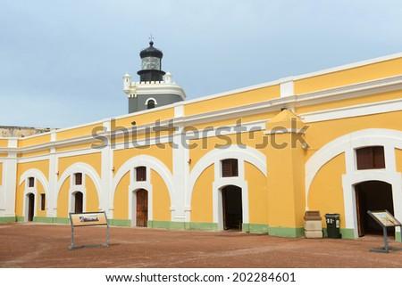 Castillo San Felipe del Morro El Morro Lighthouse, San Juan, Puerto Rico. Castillo San Felipe del Morro is designated as UNESCO World Heritage Site since 1983. - stock photo