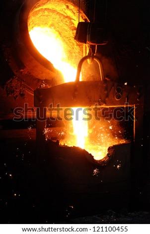 Casting of iron - stock photo