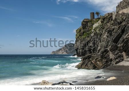Castle and beach Vernazza, Cinque Terre, Italy - stock photo