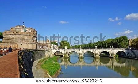 Castle and Bridge of Angels, Rome, Italy - stock photo