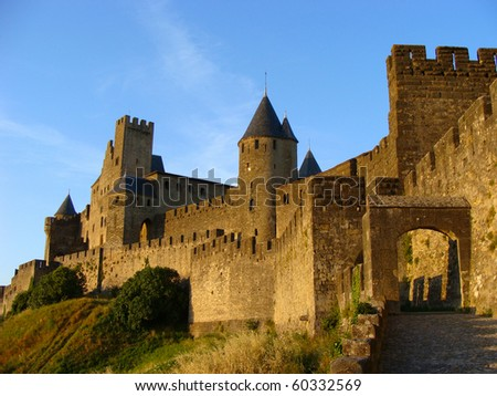 Castle at Carcassonne, France at sunset - stock photo