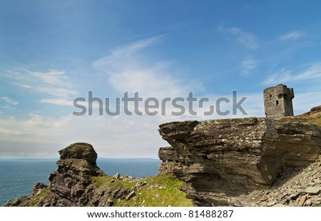 Castle at Cliffs of Moher, Ireland - stock photo