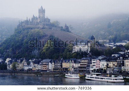 Castle at Cochem, situated on the Mosel River near the Rhine River inflow, Germany - stock photo